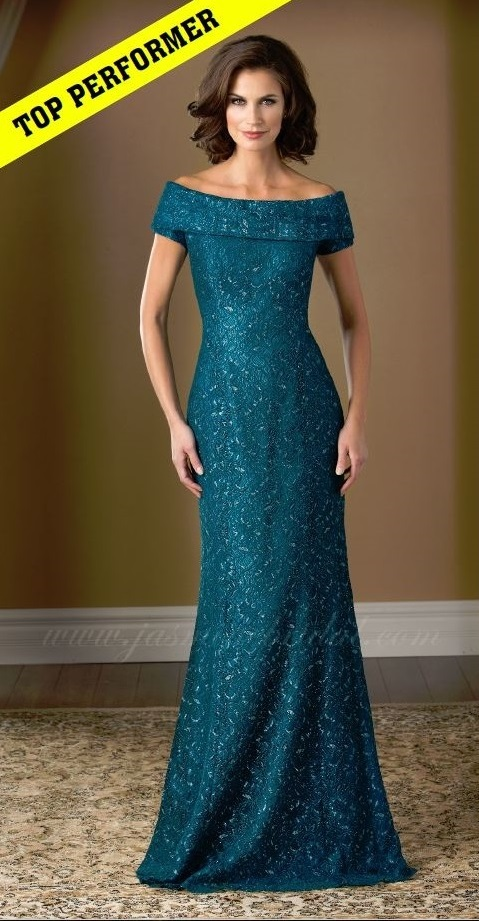 mother of the bride, deep turquoise lace, A-line, boat-neckline, front