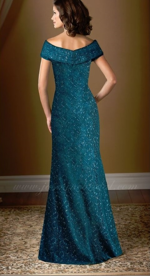 mother of the bride, deep turquoise lace, A-line, boat-neckline, back