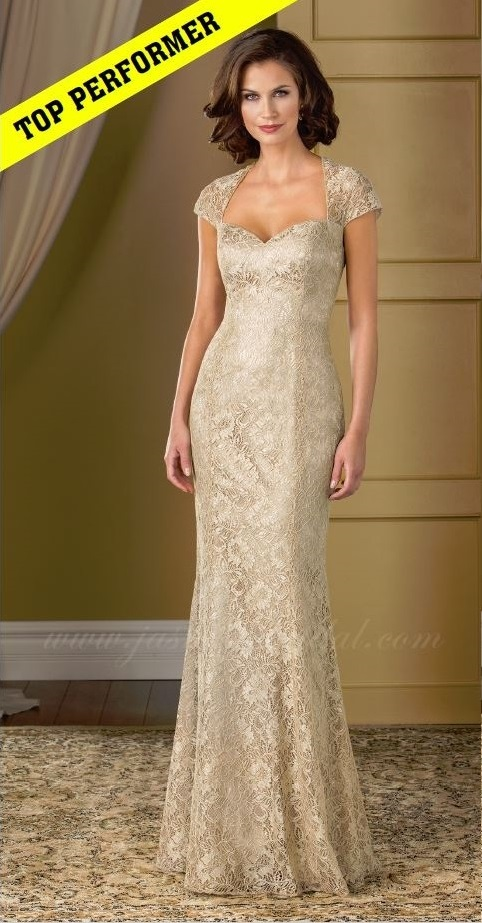mother of the bride, beige lace, straight, sweet heart neckline, straps, front