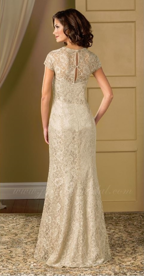 mother of the bride, beige lace, straight, sweet heart neckline, straps, back