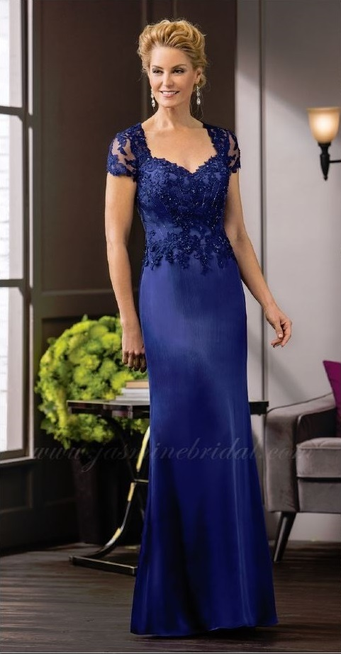 mother of the bride, royal blue, straight, sweet heart neckline, straps, front
