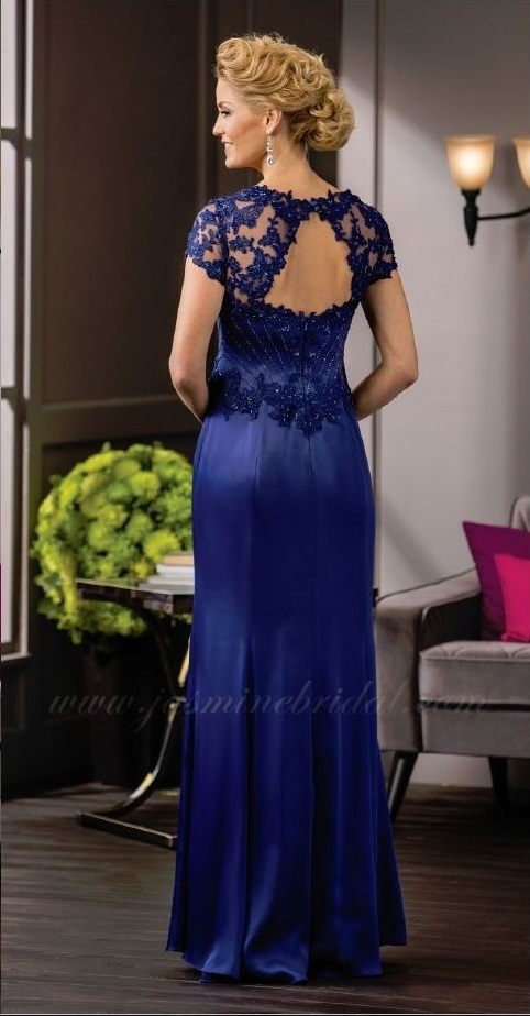 mother of the bride, royal blue, straight, sweet heart neckline, straps, back