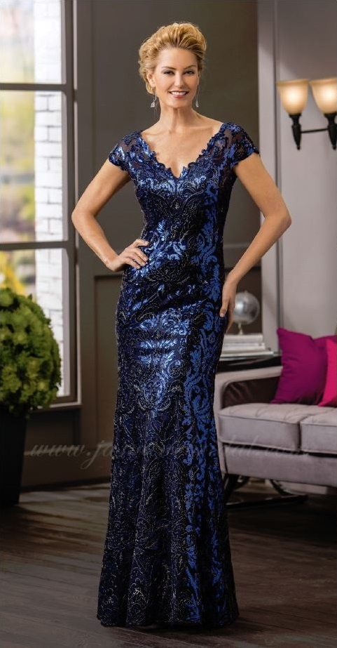 mother of the bride, royal blue sheen, trumpet style, lace and beads, V-neckline, straps, front
