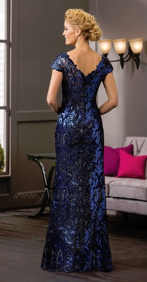 mother of the bride, royal blue sheen, trumpet style, lace and beads, V-neckline, straps, straps, back
