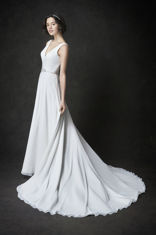 pure white wedding dress, long round tail, V-neckline, A-line gown, straps