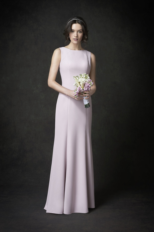 pink-ish simple wedding gown, boat-neckline, A-line gown, straps, no back