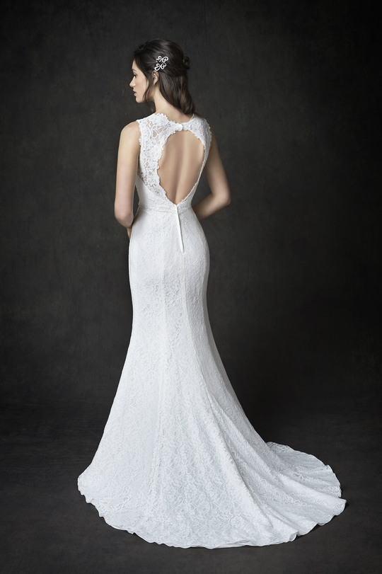 white wedding gown, sweet-heart neckline, A-line gown, round tail, lace top, belt, straps, sweet back