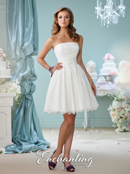 white lace, simple and clean, short, beach wedding, neckline straight cut, flared dress