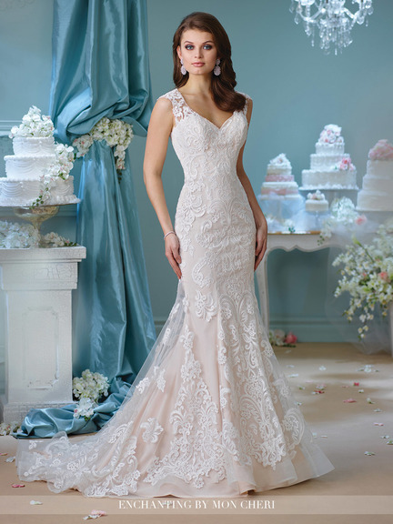 lovely off-white wedding gown with white lace top layer, trumpet style, lace back, small tail