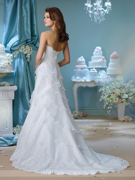 white wedding gown, mixture of embroidery, tulle and lace, sweet-heart neckline, strapless, layers, tail, A-line