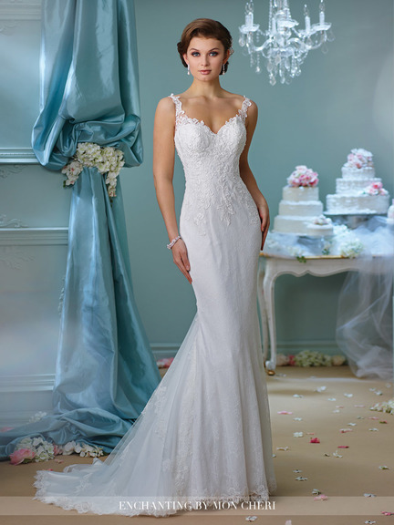 mermaid style white wedding gown, white lace top, lace back, straps