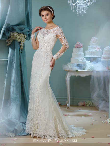 white trumpet style wedding gown, long sleeves, boat-cut neckline, lace top and back