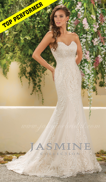 strapless, lace, trumpet style, sweet heart neckline, front