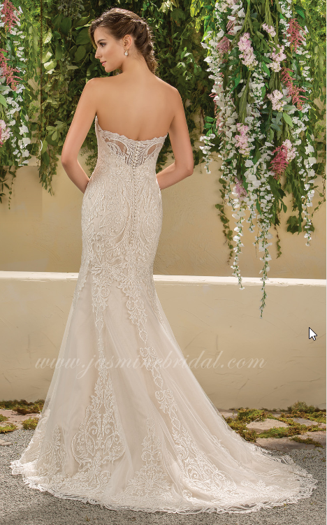 strapless, lace, trumpet style, sweet heart neckline, back