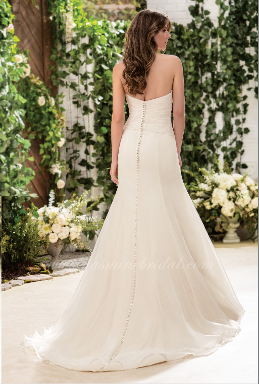 off-white, simple, sweet heart neckline, A-line, back