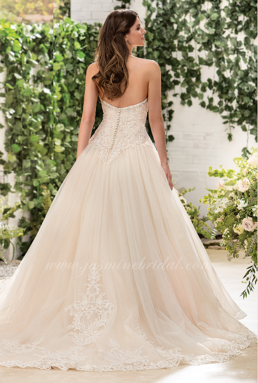 off-white, ball gown, top lace, strapless, sweet heart neckline, back