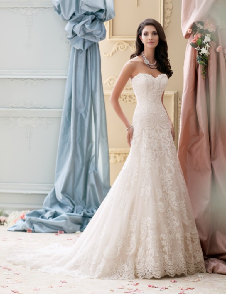 off white, lace top, heart-shaped neckline, strapless wedding gown - front