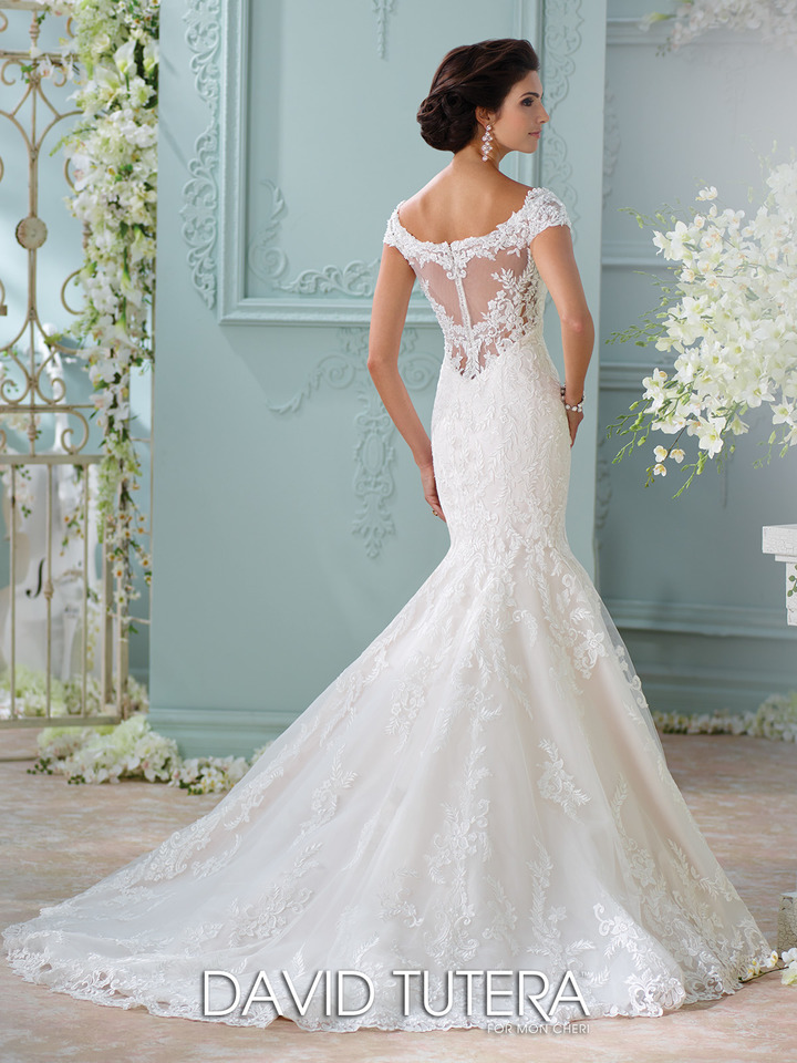 white, trumpet style, lace back and straps, wedding dress - front