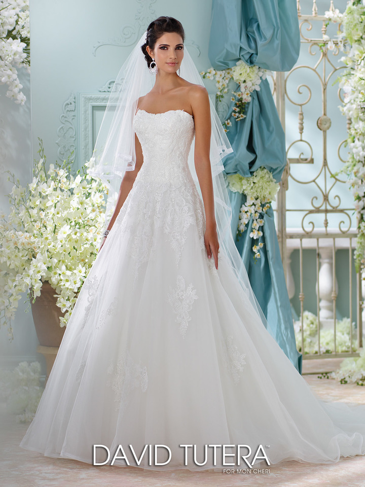 strapless, ball gown wedding dress - front