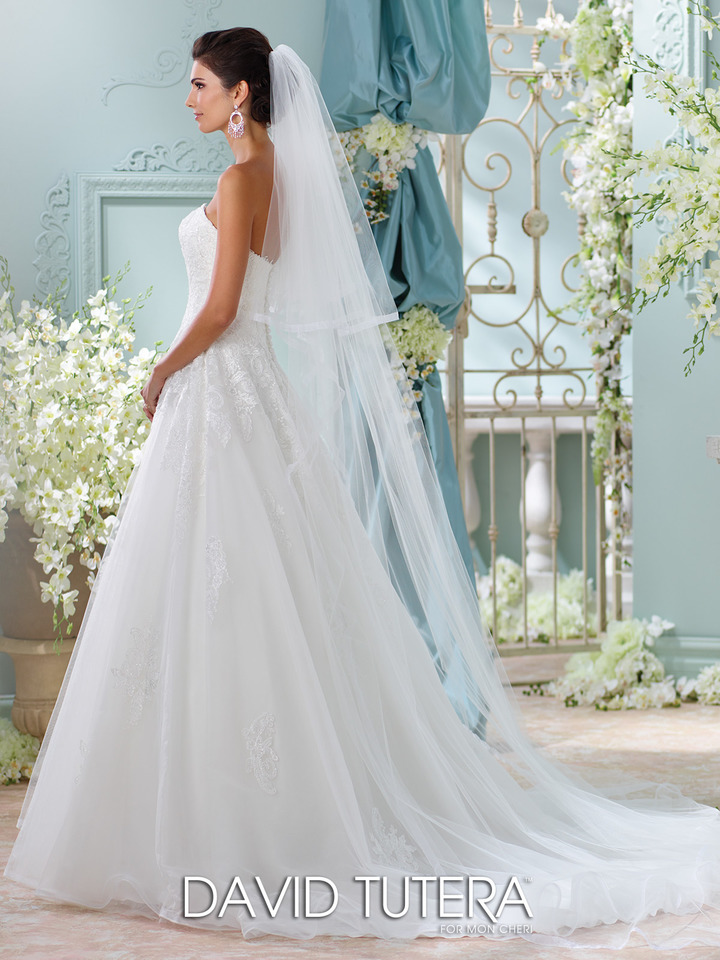 strapless, ball gown wedding dress - side view